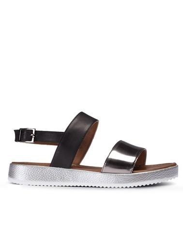 Deery Hakiki Deri Sandalet Gümüş
